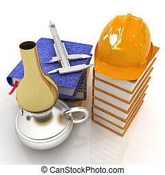 klassisk, tehnology, begrepp, med, hård hatt, på, a, läder, böcker, trammel, på, a, anteckningsböcker, och, gammal, fotogen, lamp., 3, render