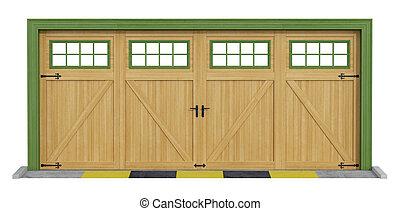 klassisk, træagtig vogn, to, garage, hvid