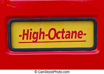 klassisk, underteckna, hög, pump, drivmedel, octane