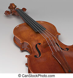 klassisk, violin, på, gråne, baggrund