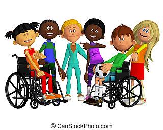klasskamrater, vänner, med, två, handikappad, barn