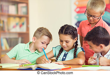 klassroom, 学校, グループ, 子供, 勉強