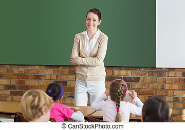klassrum,  CÙte, Elever, deras, Lyssnande, lärare