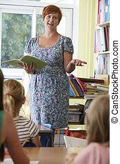 klassrum, elementär, skola, Elever, lärare