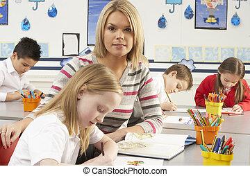 klassrum, grupp, primär, lärare, skolbarn, lektion, ha
