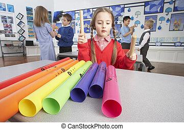 klassrum, grupp, primär, musik, skolbarn, lektion, ha