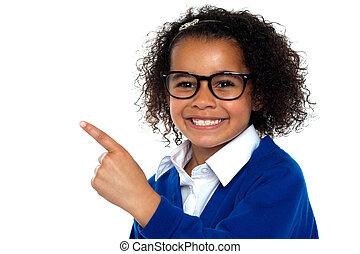 klassrum, henne, visande, primär, väg, afrikansk, flicka