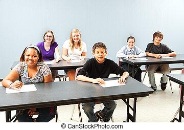 klassrum, mångfaldig, copyspace