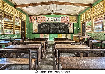klassrum, västra afrika, ghana
