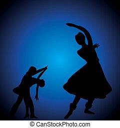 klasszikus, és, salsa/couple, táncos
