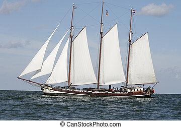 klasszikus, öreg, holland, vitorláshajó