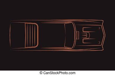 klasszikus, 1970, autó, narancs, silhoutte
