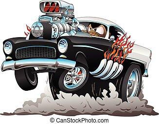klasszikus, amerikai, ötvenesek, mód, csípős horgászbot, furcsa autó, karikatúra, noha, nagy, gép, fénylik, dohányzó, gumiabroncsok, durrantó, egy, wheelie, vektor, ábra