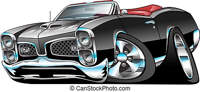 klasszikus, amerikai, izom, autó, karikatúra
