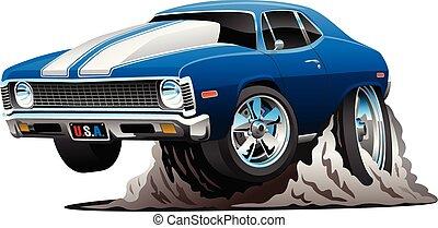klasszikus, amerikai, izom, autó, karikatúra, vektor, ábra