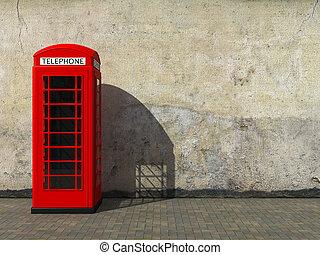 klasszikus, bódé, piros telefon