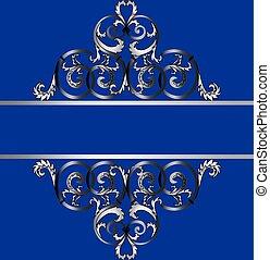 klasszikus, díszítés, királyi, meghívás, ezüst, kártya