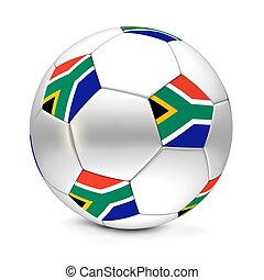 klasszikus, foci futball, labda, consisting, közül, ezüst, fémből való, hatszögek, és, pentagons, noha, a, lobogó, közül, dél-afrika