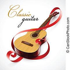 klasszikus, gitár, mint, hangjegykulcs, simbol