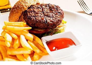 klasszikus, hamburger, szendvics