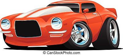 klasszikus, izom, autó, karikatúra, ábra