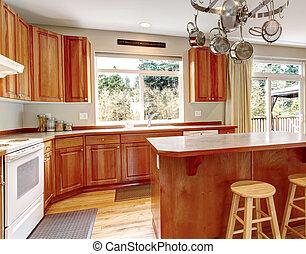 klasszikus, keményfa, floor., nagy, erdő, belső, konyha