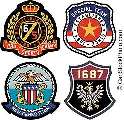 klasszikus, királyi emblem, jelvény, pajzs