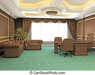 klasszikus, modern, hivatal belső, szoba, hely