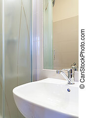 klasszikus, modern, mosogató, alatt, fürdőszoba
