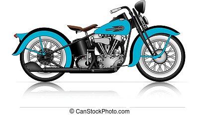 klasszikus, motorkerékpár, kék