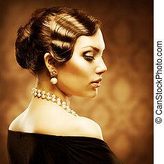 klasszikus, retro mód, portrait., romantikus, szépség