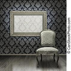 klasszikus, szék, és, ezüst, keret