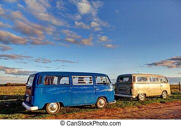 klasszikus, vw, kempingező furgon