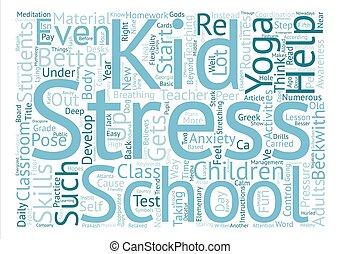 klasy, dzieciaki, słowo, pomoc, zręczności, tekst, lepszy, pojęcie, tło, rozwijać, yoga, chmura