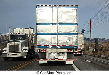 klasyczny, usa, ciężarówki, na drodze