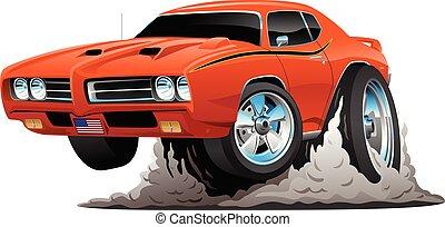klasyczny wóz, ilustracja, amerykanka, wektor, mięsień, rysunek