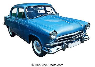 klasyk, błękitny, retro, wóz, odizolowany