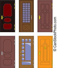 klasyk, drewniany, -, wewnętrzny, wektor, drzwi, przód