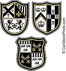 klasyk, heraldyczny, emblemat, herb, shiel