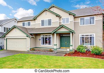 klasyk, nowy, północno-zachodni, amerykanka, wielki, dom, exterior.