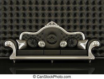 klasyk, skórzana sofa, ułożyć, czarne tło, srebro