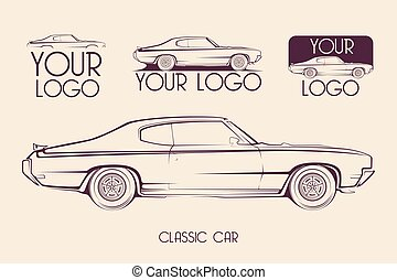 klasyk, sylwetka, lekkoatletyka, amerykanka, wóz, logo