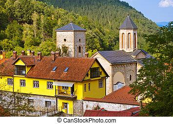 klasztor, serbia, -, średniowieczny, raca