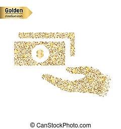 klatergoud, concept, kunst, goud, abstract, helder, schitteren, achtergrond., foil., vrijstaand, shimmer, creatief, schittering, bling, pictogram, stof, web, confetti, gloed, illustratie, sequins, licht, vector