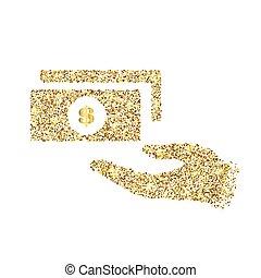 klatergoud, concept, kunst, goud, abstract, helder, schitteren, achtergrond., foil., vrijstaand, shimmer, creatief, schittering, bling, pictogram, stof, web, confetti, gloed, illustratie, sequins, licht