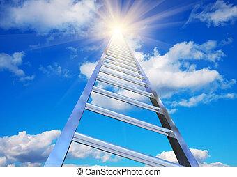 klatka schodowa, do, przedimek określony przed rzeczownikami, niebo