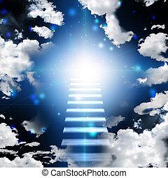 klatka schodowa, niebo