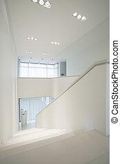 klatka schodowa, wnętrze, elegancki, wewnętrzny, biały, czysty