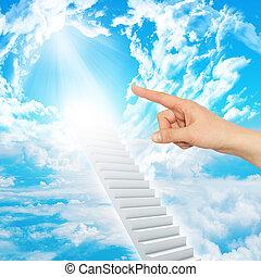 klatka schodowa, wskazuje, niebo, palec