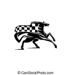 klatkowy, mustang, sport, bandera, maskotka, jeździec